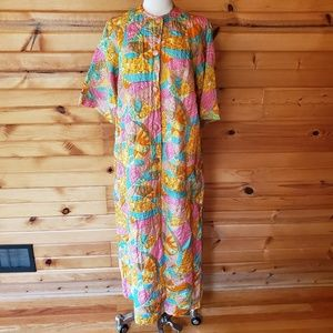 1970s Renaissance Multi-Color, Thin Quilted, Robe